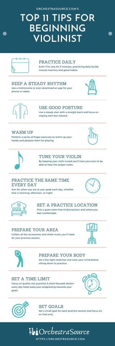 Infographic That Shares the Top 11 Tips for Beginning Violin Students